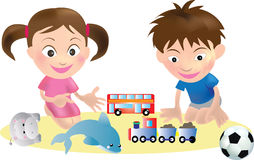 Children and Toys Vector Stock Photography