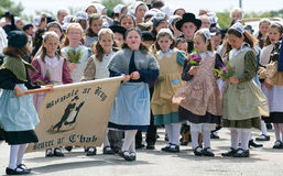Children in Traditional breton festival in beuzec Royalty Free Stock Images