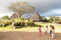 Children in a traditional village stock photo