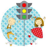 Children and traffic lights Stock Photography