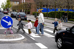 CHILDREN IN TRAFIC Stock Images
