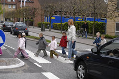CHILDREN IN TRAFIC Royalty Free Stock Image