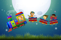 Children and train Royalty Free Stock Image
