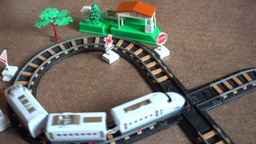 Children train game video. This is a playful children background game 4k video of a Toy Railway Station And Train…Really nice  fresh colours and pleasure stock footage