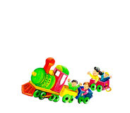 Children on train. Children plays with a beautiful train Royalty Free Stock Photography