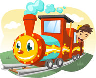 Children train ride illustration. Cartoon illustration of a Little boy riding a real size toy train Royalty Free Stock Image