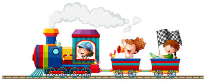 Children and train Stock Photo