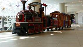 Children on train in Vegas shopping mall stock video