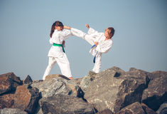 Children training karate Stock Image