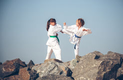 Children training karate Royalty Free Stock Photography