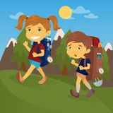 Children with Travel Backpacks. Boy and Girl Scout Stock Images
