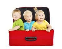 Children in Travel Case, Three Kids Travelers inside Suitcase stock images