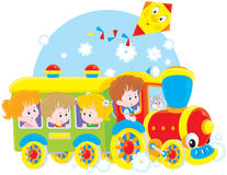 Children travel by train vector illustration