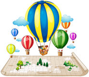Children traveling by balloon. Illustration Royalty Free Stock Image