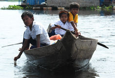 Children Traveling by Boat Royalty Free Stock Images