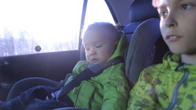Children Are Traveling In The Car.  stock video footage
