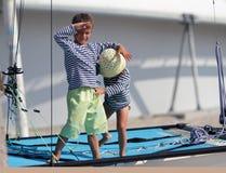 Children traveling on sea yacht Stock Photos