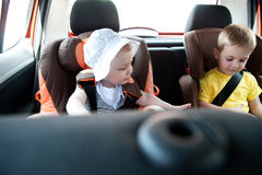 Children travelling in car Royalty Free Stock Photos