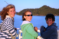 Children travelling by ferry royalty free stock photo