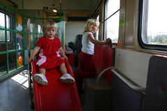 Children travelling by train stock image