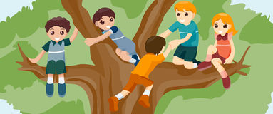 Children on Tree Stock Photography