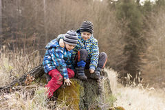 Children on tree stump in nature. Two children sitting on a tree stump, playing in nature royalty free stock photos