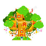 Children treehouse colorful vector illustration with houses,. Branches, leaves, flowers, birds, ladders, chimney for kids playground. House on the tree vector royalty free illustration