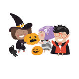 Children trick or treating in Halloween costume Stock Image