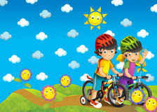 The children on the trip - illustration stock image