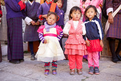 Children at the Trongsa Dzong, Trongsa, Bhutan Royalty Free Stock Photos