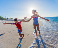 Children at tropical beach Royalty Free Stock Image