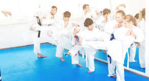 Children trying martial moves in karate class Royalty Free Stock Photography