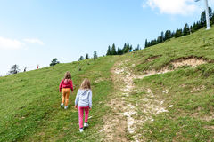 Children - twin girls are hiking in the mountains. Royalty Free Stock Photos