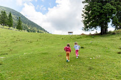 Children - twin girls are hiking in the mountains. Royalty Free Stock Photography