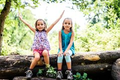 Children - twin girls are hiking in the mountains. Royalty Free Stock Image