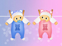 Children twins hanging Royalty Free Stock Images