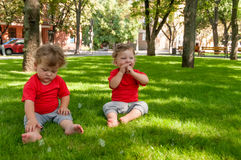 Children twins play on the grass with soap bubbles Stock Photo