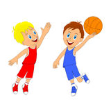 Children,two boys playing basketball Royalty Free Stock Photography