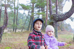 Children two brother sister together forest. Outdoor Royalty Free Stock Photography