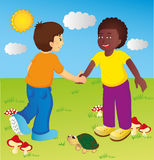 Children. Two children meet and shake hands Royalty Free Stock Photos