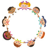Children tying a hand. Ring of world children and peace Royalty Free Stock Images