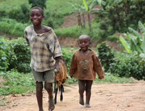 Children in Uganda, Africa. Shepherd Children in Uganda, Africa royalty free stock photos