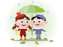 Children with umbrella Royalty Free Stock Images