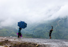 Children with umbrella, Sapa Royalty Free Stock Images