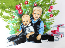 Children under Christmas tree. Illustration markers on white paper: two boys brother sit under a Christmas tree with toys Royalty Free Stock Images