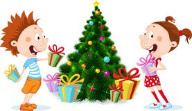 Children under the Christmas Tree Unwrap Gifts  - vector illustration. Children under the Christmas Tree Unwrap Gifts  on white - vector illustration Stock Photos