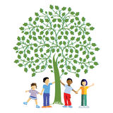 Children under a tree. Colorful illustration of four children from different cultures and ethnicity happily playing or posing under a green tree, white Royalty Free Stock Images