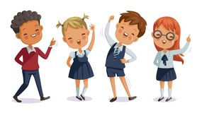Children uniform. Back to school. boys and girls of hand sign. cute character. happy smile. cartoon vector illustration, isolated on white background stock illustration