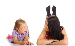 Free Children Upbringing.Mother Talking With Daughter Isolated Royalty Free Stock Image - 37038936