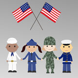 Children with USA military uniform. With USA Flags Stock Photo